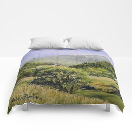 Pastures and Mount Mansfield Oil Landscape Vermont Painting Comforters