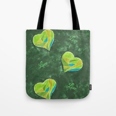 Green hearts pattern Tote Bag