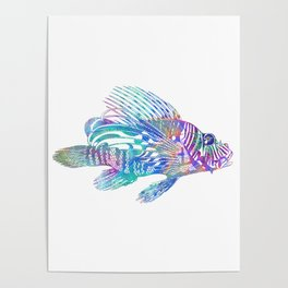Psychedelic Lionfish Trippy Ocean Surreal Sea Creature Poster