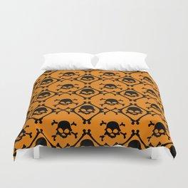 Halloween orange black geometrical skull bones pattern Duvet Cover