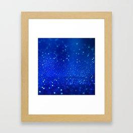 Abstract blue bokeh light background Framed Art Print