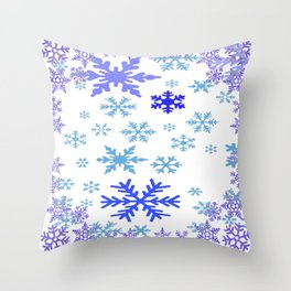 BLUE & PURPLE WINTER SNOWFLAKES ART ABSTRACT Throw Pillow