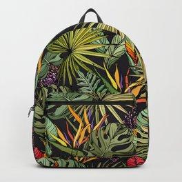 Tropical pattern on black Backpack