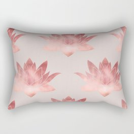 Pink Lotus Flower | Watercolor Texture Rectangular Pillow