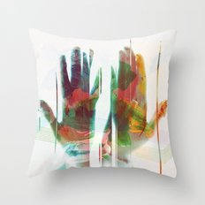 painter's hands Throw Pillow