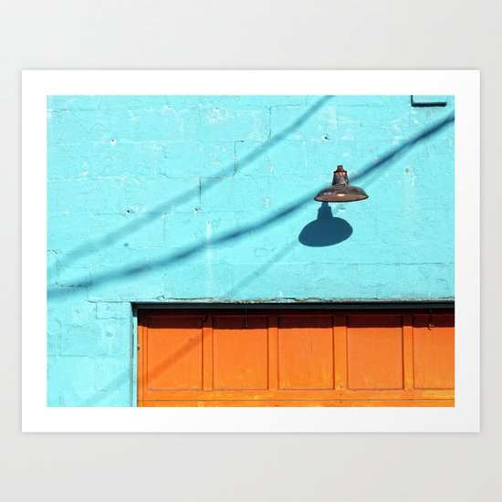 Electric Aqua building orange door Art Print