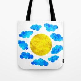 Cute blue cartoon clouds and sun. Tote Bag