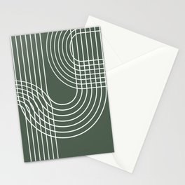 Minimalist Lines & Forest Green BG Stationery Cards