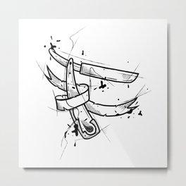 Razor Handmade Drawing, Made in pencil and ink, Tattoo Sketch, Tattoo Flash, Blackwork Metal Print