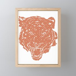 TIGER SILHOUETTE HEAD WITH PATTERN Framed Mini Art Print
