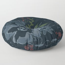 Moody Blues Floral Pattern Floor Pillow