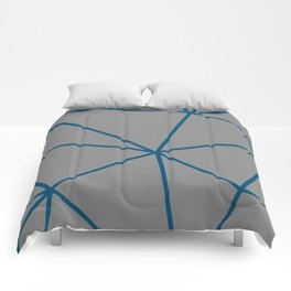Geometric pattern shapes - blue and grey Comforters