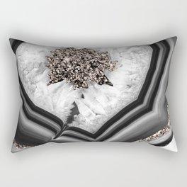 Gray Black White Agate with Rose Gold Glitter #2 #gem #decor #art #society6 Rectangular Pillow