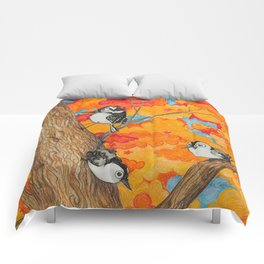 Fall: Two Nuthatches and a Downy Comforters