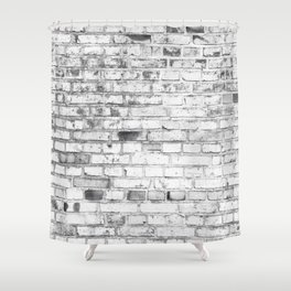Withe brick wall Shower Curtain