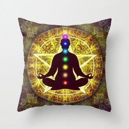 In Meditation With Chakras - Spiritual I Throw Pillow