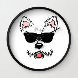 Cute White Terrier Westie Dog Face with Sunglasses for Westie Lovers Wall Clock