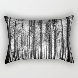 trees in forest landscape - black and white nature photography Rectangular Pillow
