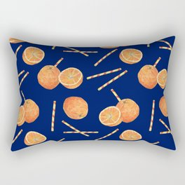 orange juice _ blue Rectangular Pillow