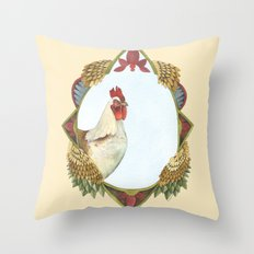 Quilted Forest // Charles the Chicken Throw Pillow