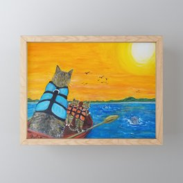 Cats in a boat watching dolphins Framed Mini Art Print