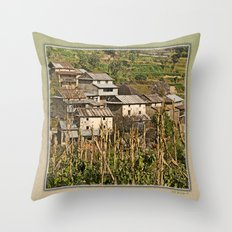 HIMALAYAN FOOTHILLS VILLAGE NEAR BHOTECHAUR NEPAL Throw Pillow