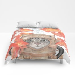 Scuba Cat Among the Fishes Comforters