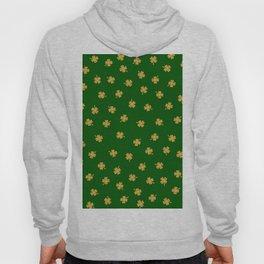 Golden Shamrocks Green Background Hoody