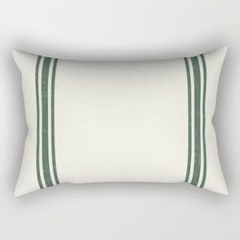 Green stripes on Cream Grainsack (wider stripes) Rectangular Pillow
