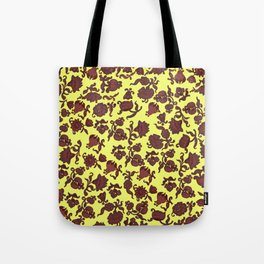 red flowers and leaves . Tote Bag