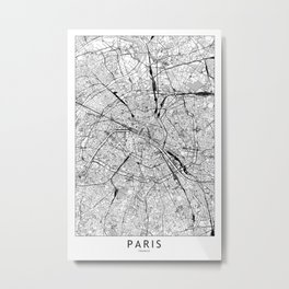 Paris White Map Metal Print