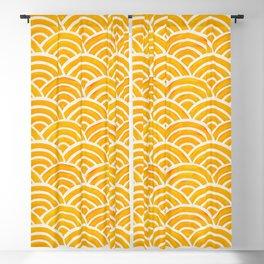 Japanese Seigaiha Wave – Marigold Palette Blackout Curtain