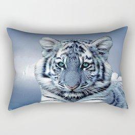 Blue White Tiger Rectangular Pillow