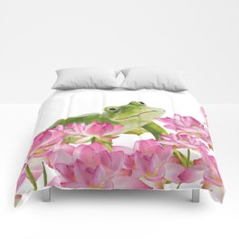 Lotos - Lotus Flower Frog Illustration Comforters