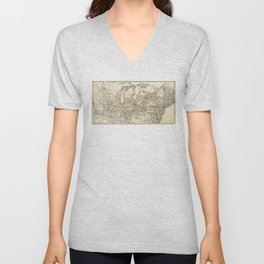 Map of the Continental Railroad Route (1873) Unisex V-Neck