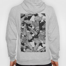Modern Black and White Tropical Banana Leaves Hoody