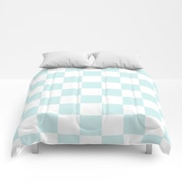 Checkered - White and Light Cyan Comforters