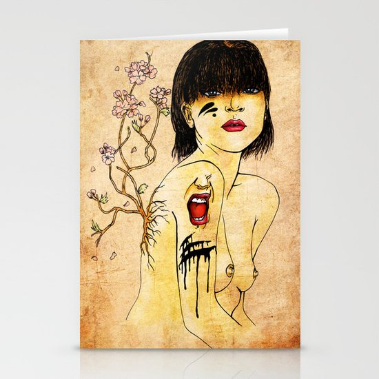 Portrait - asian woman Stationery Cards