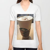 starbucks V-neck T-shirts featuring Starbucks by Josj