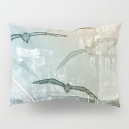 Free Like A Bird Seagull Mixed Media Art Pillow Sham