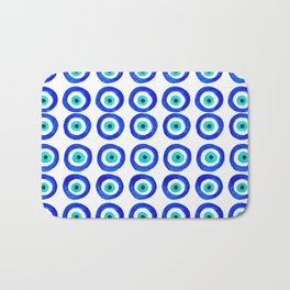 Evil Eye Amulet Talisman - on white Bath Mat