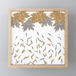 Gold 'n' Silver Fall leaves Framed Mini Art Print