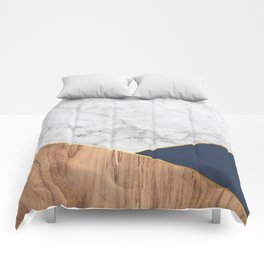 White Marble - Wood & Navy #599 Comforters