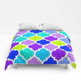 Moroccan BLUE GREEN AND PURPLE Comforters