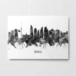 Baku Azerbaijan Skyline BW Metal Print