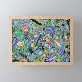 Feathers of birds of the world Framed Mini Art Print
