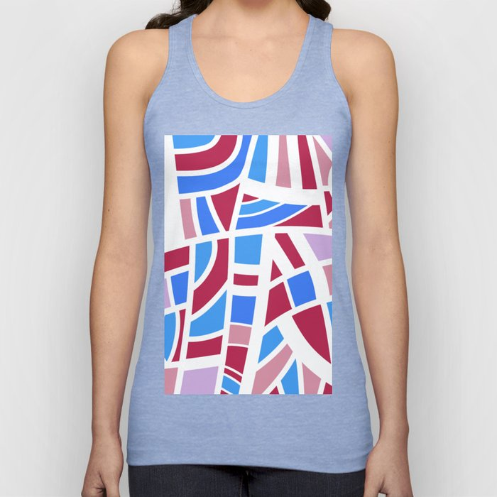 Broken Pink And Blue Abstract Unisex Tank Top