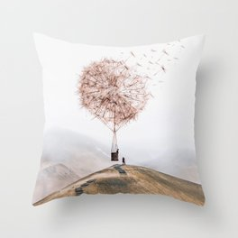 Flying Dandelion Throw Pillow