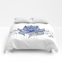Watercolor Blue Lotus Comforters