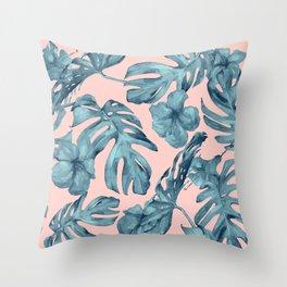 Island Life Teal on Light Pink Throw Pillow